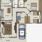 158105 Projeto de casa em formato de L 150x150 Planta de Casa em L