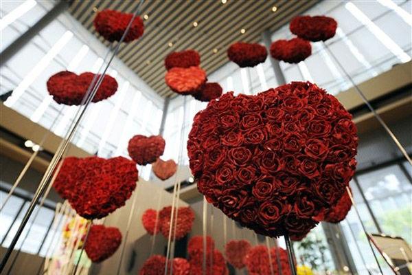 decoração coração romantica