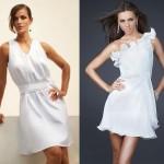 Os detalhes como babados e drapeados se destacam no vestido branco