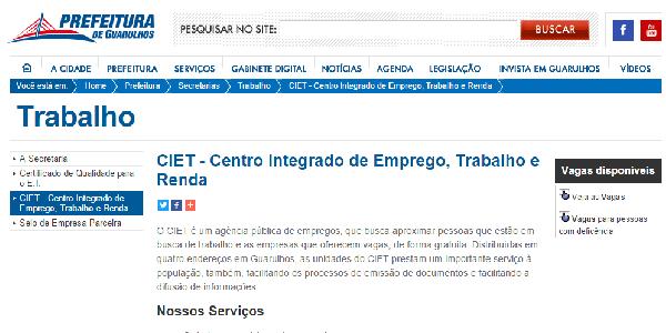 Centros de Guarulhos (SP) Oferecem Vagas (Foto Divulgação: Guarulhos SP)