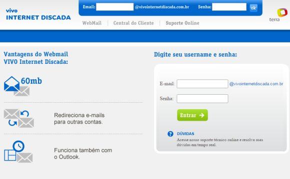 O serviço agora se chama Vivo Internet Discada (Foto: Reprodução Vivo)