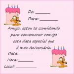 Convite de aniversário Garfield. (Foto: divulgação)