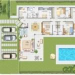 Modelo de casa em forma L onde piscina fica em um ponto bem legal (Foto: Divulgação)