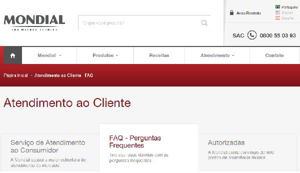 A Mondial disponibiliza seu site para atendimento ao cliente (Foto: Divulgação Mondial)