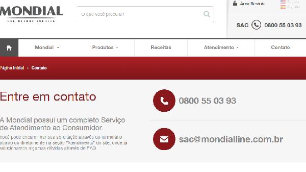 Atendimento ao consumidor Mondial (Foto: Divulgação Mondial)