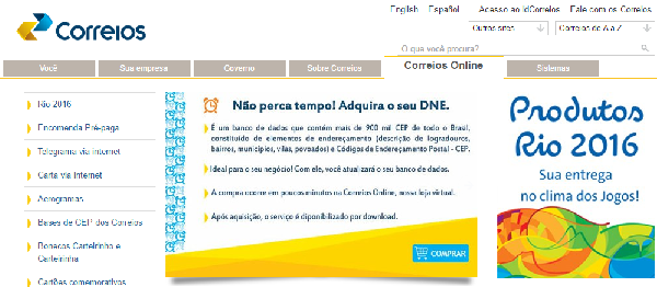 Através do site do Correio você obtém inúmeros serviços (Foto: Divulgação Correio)