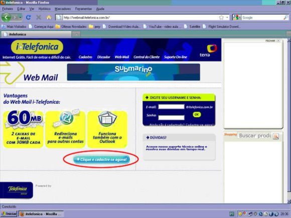 Antiga página do Itelefônica. (Foto: Divulgação)