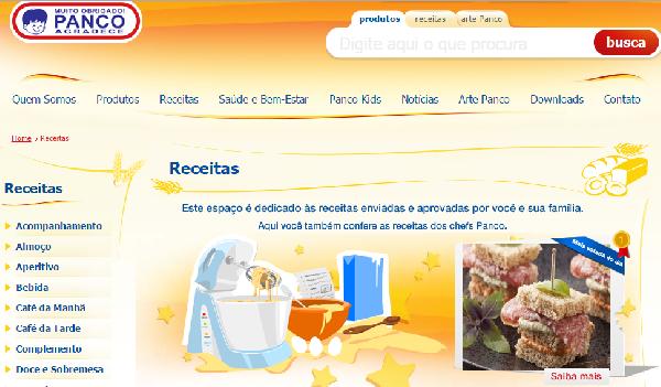O site da Panco oferece inúmeros serviços, inclusive para quem gosta de cozinhar (Foto Divulgação: Panco)