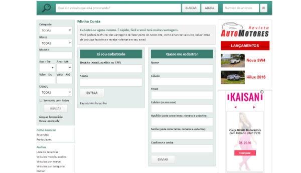 Faça o cadastro na Carros na Serra e anuncie seu carro hoje mesmo (Foto: Reprodução)