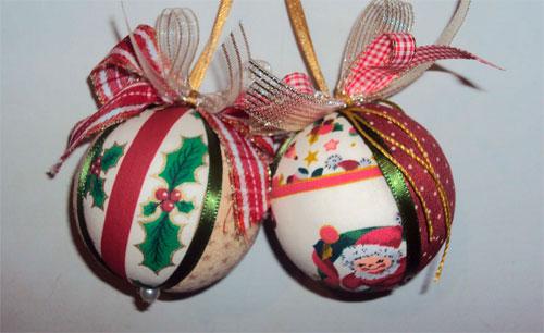 Bolas de isopor decoradas com patchwork  (Foto: Divulgação)