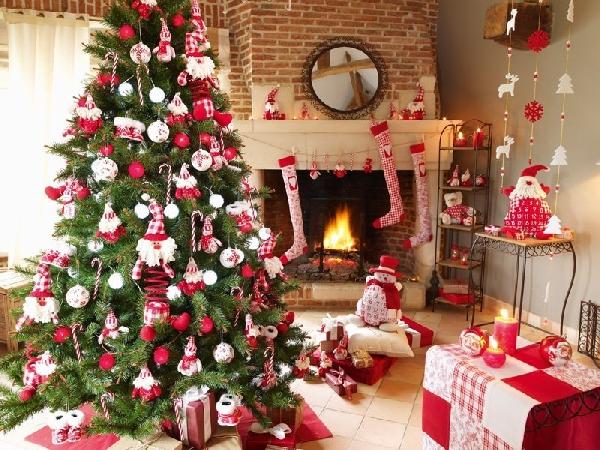 Sala decorada para o Natal