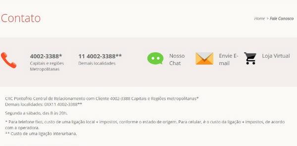 Ponto Frio SAC Telefone 0800 1