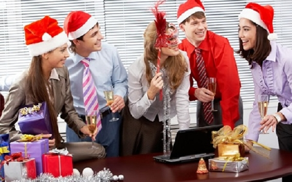 Comemoração de Natal entre funcionários