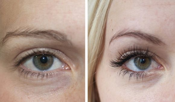 Antes e depois dos cílios postiços (Foto Ilustrativa)