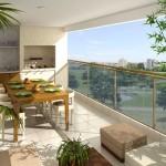 Móveis de madeira e plantas naturais deixam a varanda mais próxima a natureza