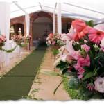 Tapetes e flores encantam o ambiente da festa