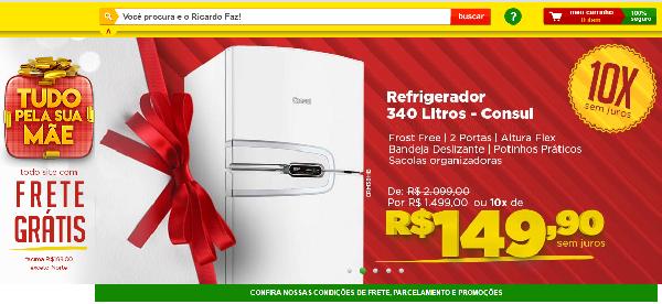 Que tal uma geladeira nova? Sua mãe irá adorar (Foto: Divulgação Ricardo Eletro)