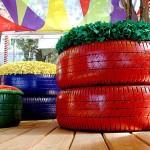 Poltronas e floreiras de pneus usados