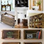 Várias opções de móveis feitos de caixotes