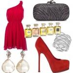 Vestido vermelho e acessórios. (Foto: Divulgação)
