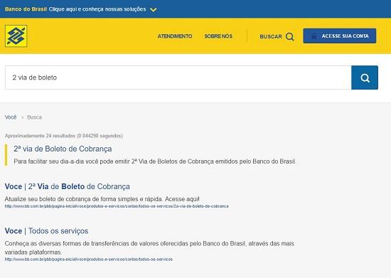 """Digite na barra buscar a frase """"segunda via de boleto do Banco do Brasil"""" (Foto: Ilustração)"""
