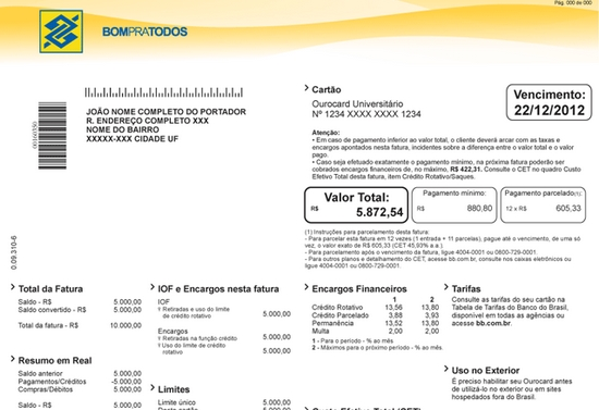 Confira como a segunda via da fatura do cartão de crédito do Banco do Brasil pode ser emitida (Foto: Ilustração)