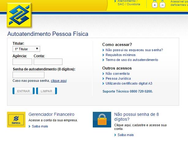 Preencha os campos para acessar a sua conta do Banco do Brasil (Foto: Divulgação)