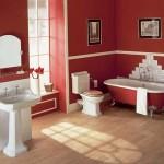 Decoração em vermelho para banheiros grandes (Foto:Divulgação)