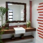 A madeira pode ser incluida na motagem do lavabo, reforçando a sensação de aconchego.