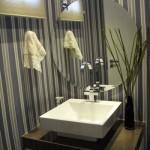 Lavabo com design moderno e charmoso.