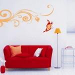 Desenho simples com motivos tribais e borboleta