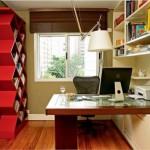 Escritório com uma estante moderna.