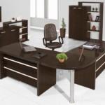 Mesa de trabalho, cadeira e estante se destacam.