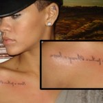 """Nova tatuagem da Rihanna que diz """"Nunca um fracasso, sempre uma lição"""" (Foto:Divulgação)"""