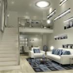 Loft pequeno em linhas claras, com predominância das cores brancas e azuis