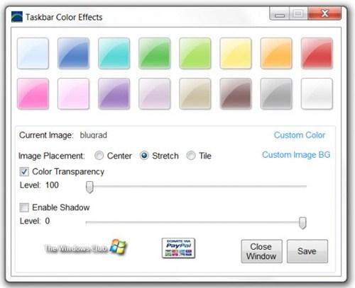 Escolha uma nova cor e adicione imagens para a barra