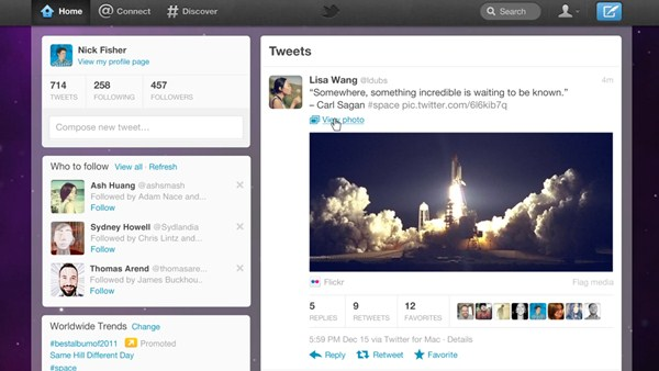 Novo visual do Twitter