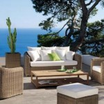 delicioso conjunto de sofás para jardim
