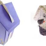 Casinhas confeccionadas com material reciclável.
