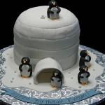 Bolo iglu, com pinguins (Foto:Divulgação)