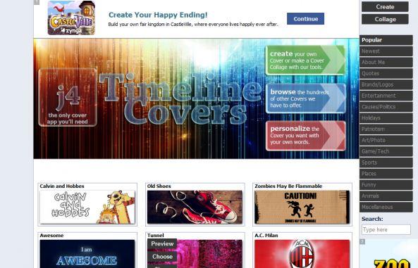 Opções de capa para o Facebook