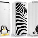 Adesivos decorativos ilustram as geladeiras