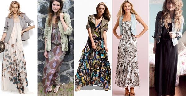 Combinação maxi vestidos com jaquetas, blazer´s e coletes (Foto Divulgação)