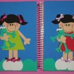 Use EVA para personalizar a capa do caderno.