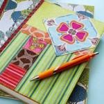 Combine vários motivos e estampas para obter um caderno bem colorido.