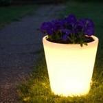 O vaso funciona como elemento de iluminação