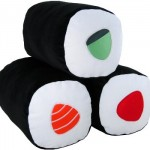 Almofadas inspiradas em sushi.