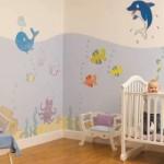 Fundo do mar é o tema deste quarto de bebê.