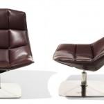 Uma cadeira de couro com design moderno.