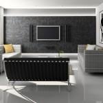 Aposte em um clima aconchegante e moderno para a sala de TV.